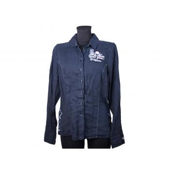 Женская синяя льняная рубашка L.ARGENTINA, S