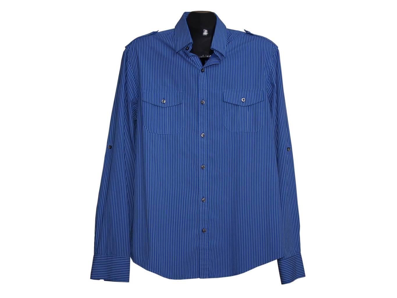 Мужская синяя в полоску рубашка RIVER ISLAND, L