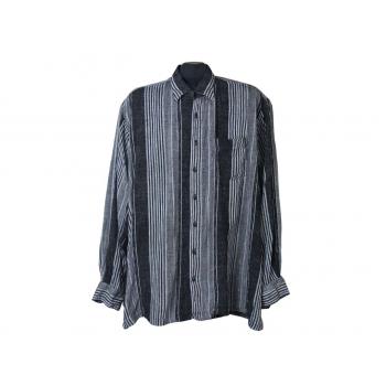 Мужская черная рубашка льняная в полоску