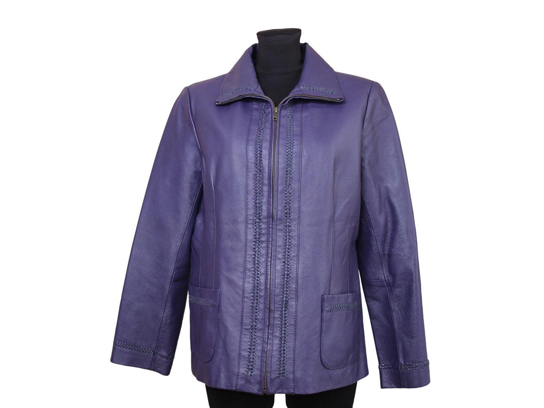 Женская фиолетовая кожаная куртка CENTIGRADE, M