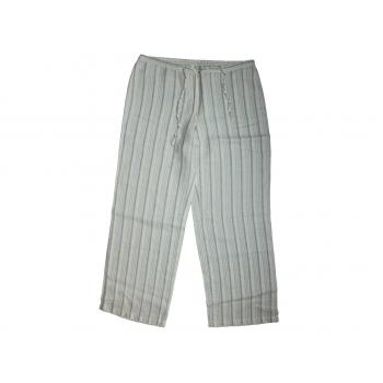 Женские серые в полоску льняные брюки BENETTON, XL