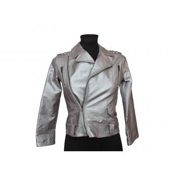 Куртка кожаная серебристая для девочки 7-9 лет GEORGE