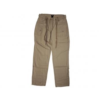 Женские бежевые льняные брюки H&M, S