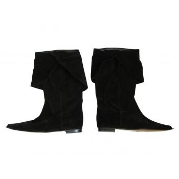 Женские черные замшевые сапоги 38 размер