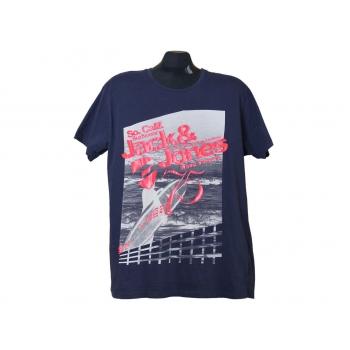 Мужская синяя футболка с принтом JACK & JONES, L