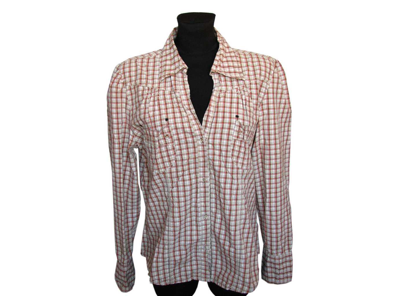 Женская бежевая рубашка в клетку ETAM, L