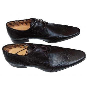 Мужские коричневые кожаные туфли 40 размер