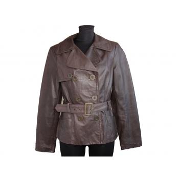 Женская коричневая кожаная куртка TU, M