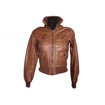 Детская коричневая кожаная куртка H&M для девочки 13-16 лет
