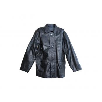 Мужская черная кожаная куртка KFMC, XL