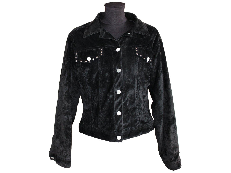 Женская черная велюровая куртка NEW GIRL, XL