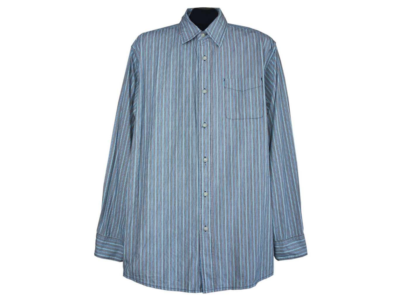 Мужская голубая рубашка в полоску WRANGLER JEANS, L