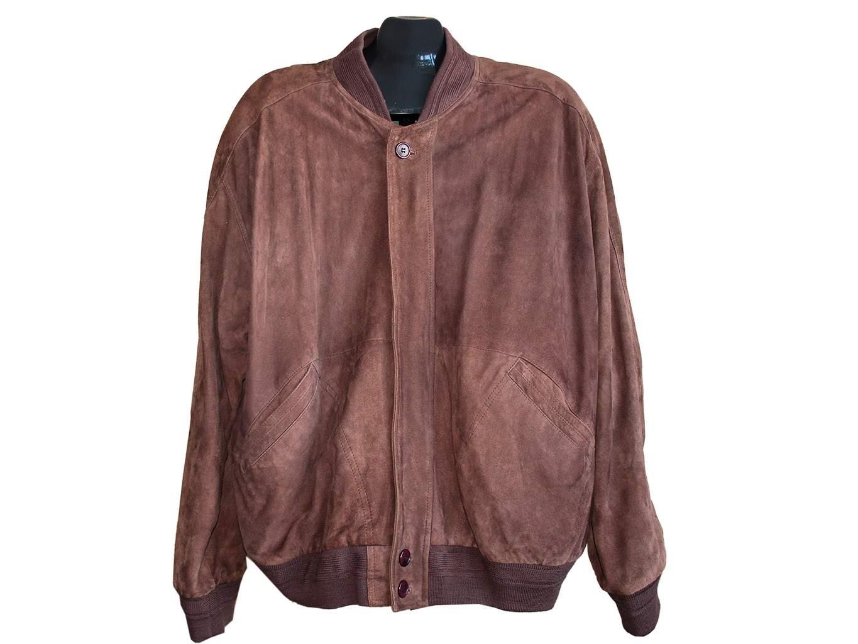 Мужская коричневая замшевая куртка, XL