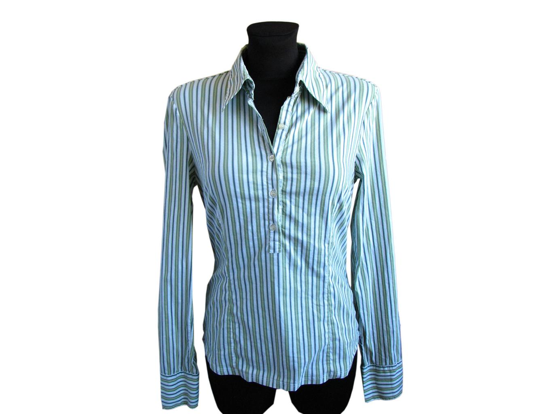 Женская зеленая рубашка в полоску BENETTON, L